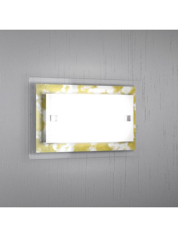 Applique moderno vetro foglia oro 1 luce tpl 1087-apfo