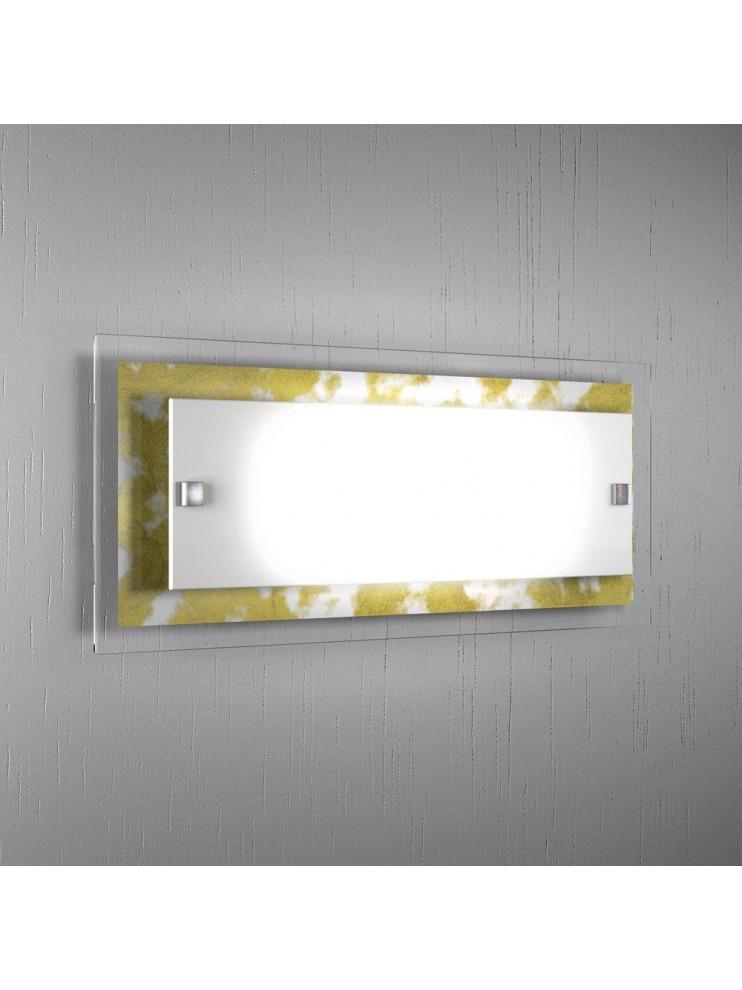 Applique moderno vetro foglia oro 2 luci tpl 1087-agfo