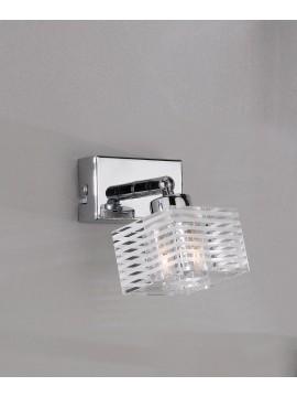 Applique faretto moderno vetro cubo 1 luce tpl 1047-f1