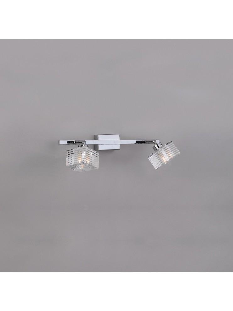 Applique moderno con vetro cubo 2 luci tpl 1047-f2