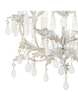 5 lights wrought iron classic chandelier with Cascina pendants