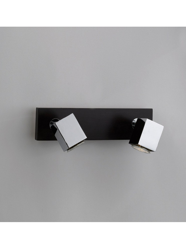Applique spot moderno 2 luci legno wengè tpl 1020-f2
