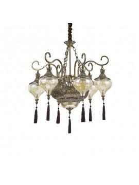 Lampadario classico brunito con cristalli 9 luci Harem