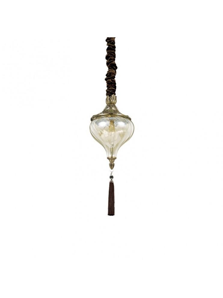 Lampadario classico brunito con cristalli 1 luce Harem