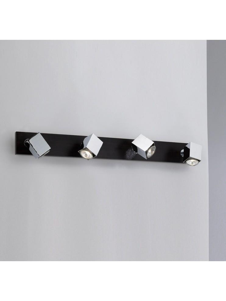 Applique spot moderno 4 luci legno wengè tpl 1020-f4