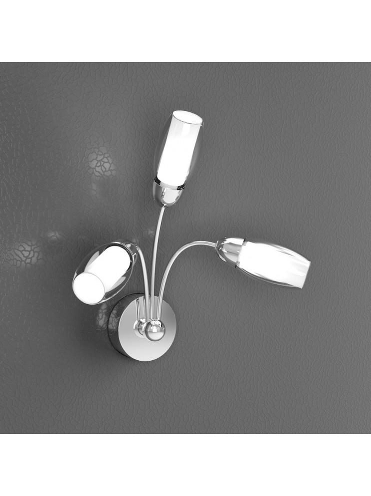 Applique moderno 3 luci con vetri satinati tpl 1011-a3a