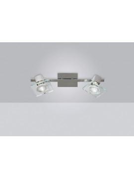 Applique spot moderno 2 luci con vetro tpl 1031-f2