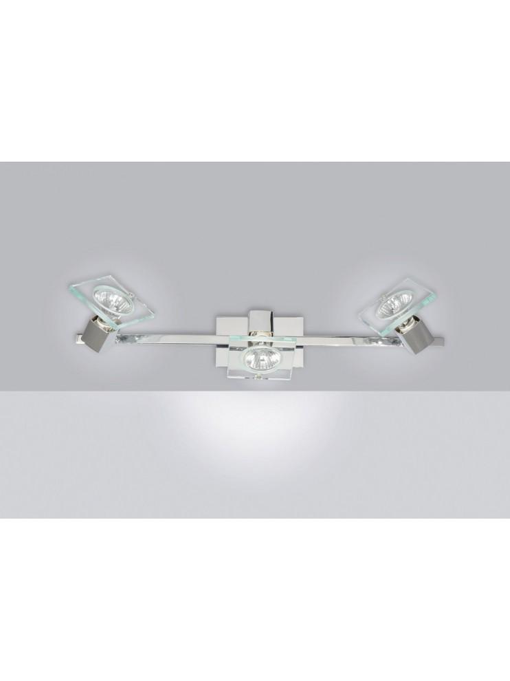 Applique spot moderno 3 luci con vetro tpl 1031-f3