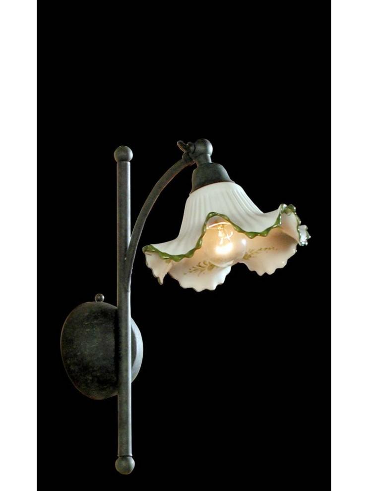 Applique in ferro battuto e ceramica verde 1 luce BGA 1111