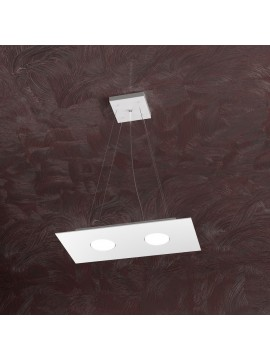 Lampadario moderno 2 luci design bianco tpl 1127-s2r