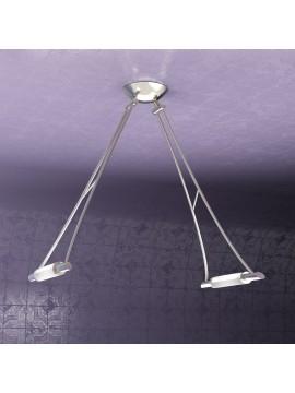 Lampadario moderno 2 luci nickel regolabile tpl 1012-s2ns