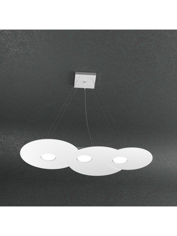 Lampadario moderno 3 luci design bianco tpl 1128-s3r