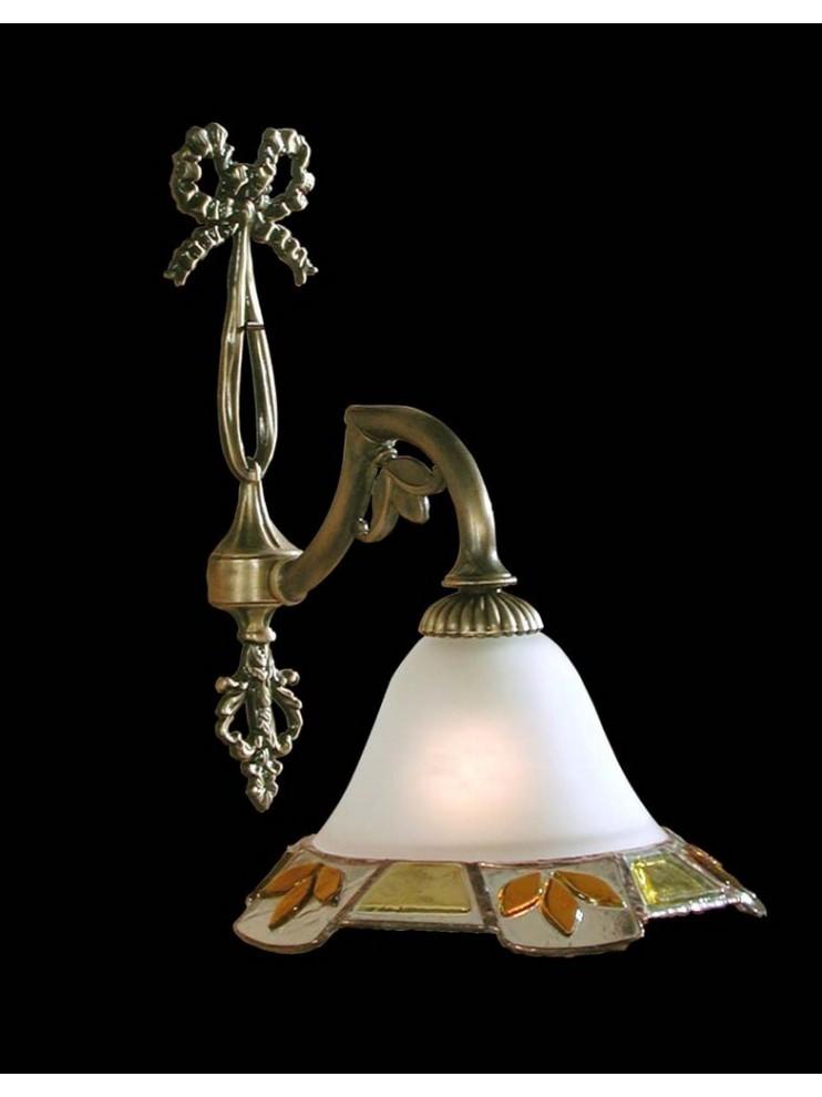 Applique in fusione di ottone e vetro tiffany antico 1 luce BGA 1119
