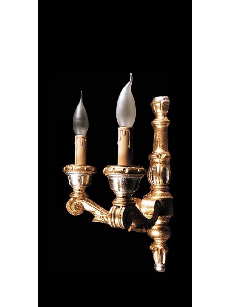 Applique in legno classico foglia oro argento a 2 luci BGA 963