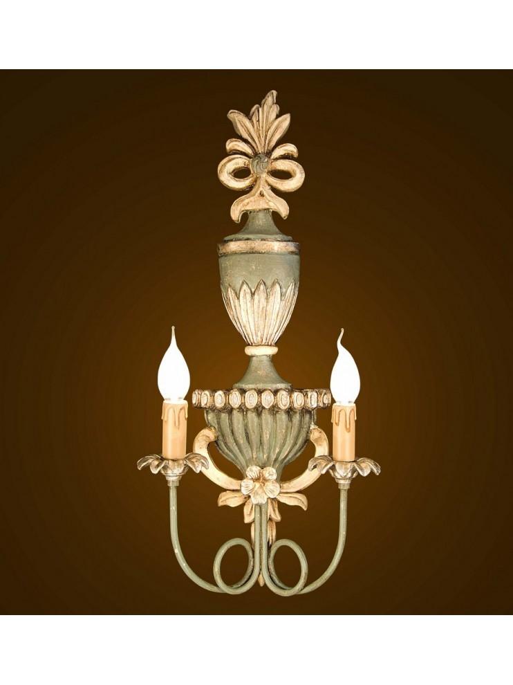 Applique in legno e ferro battuto foglia oro e verde 2 luci BGA 1652
