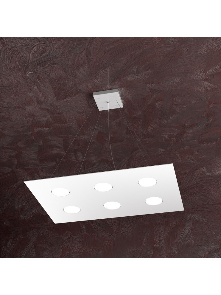 Lampadario moderno 6 luci design bianco tpl 1127-s6r
