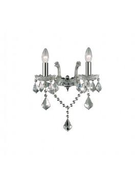 Contemporary wall lamp 2 lights Florian crystal chrome