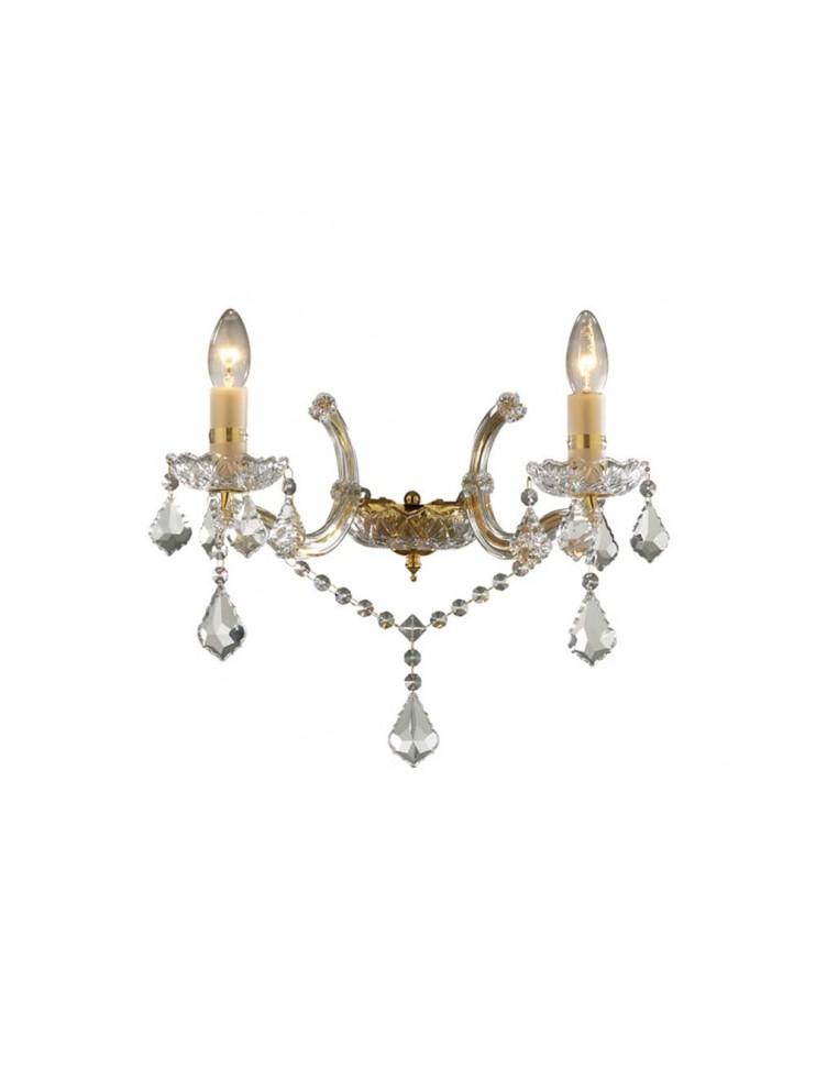 Classic sconce 2 lights Florian crystal gold