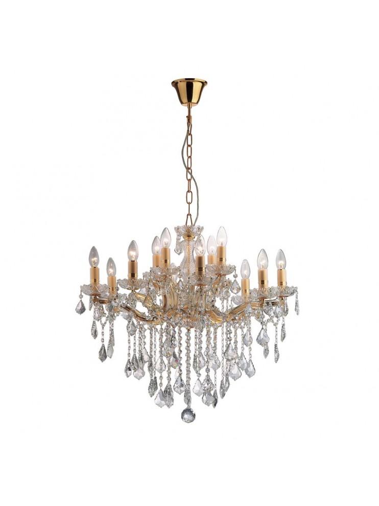 Lampadario classico 12 luci cristallo Florian oro
