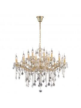 Lampadario classico 18 luci cristallo Florian oro