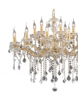 Classic chandelier 18 lights Florian crystal gold