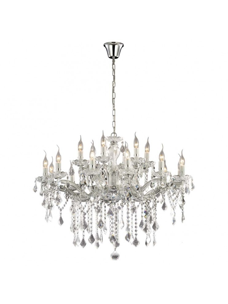 Contemporary chandelier 18 lights chromed Florian crystal