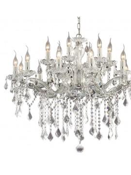 Lampadario contemporaneo 18 luci cristallo Florian cromato