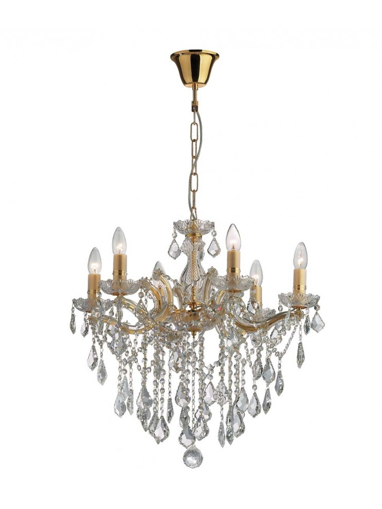 Classic chandelier 6 lights Florian crystal gold