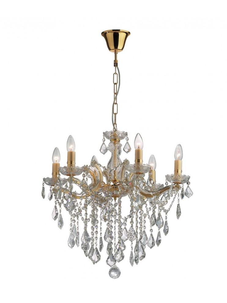 Lampadario classico 6 luci cristallo Florian oro