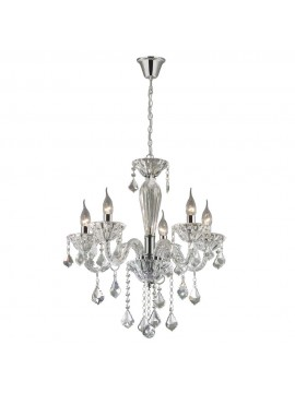 Contemporary crystal chandelier 5 lights Tiepolo chrome