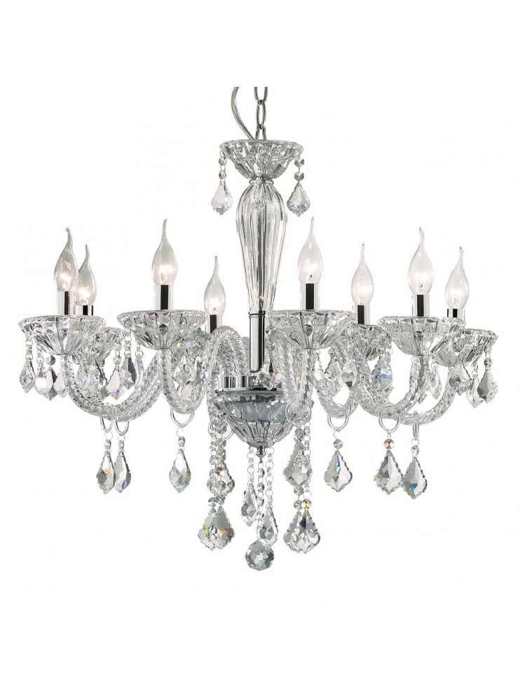 Contemporary crystal chandelier 8 lights Tiepolo chrome