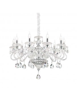 Contemporary crystal chandelier 10 lights Negresco chrome