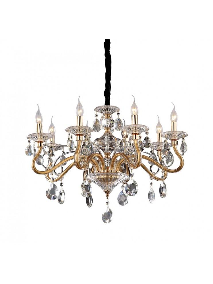 Classic crystal chandelier 8 lights Negresco gold