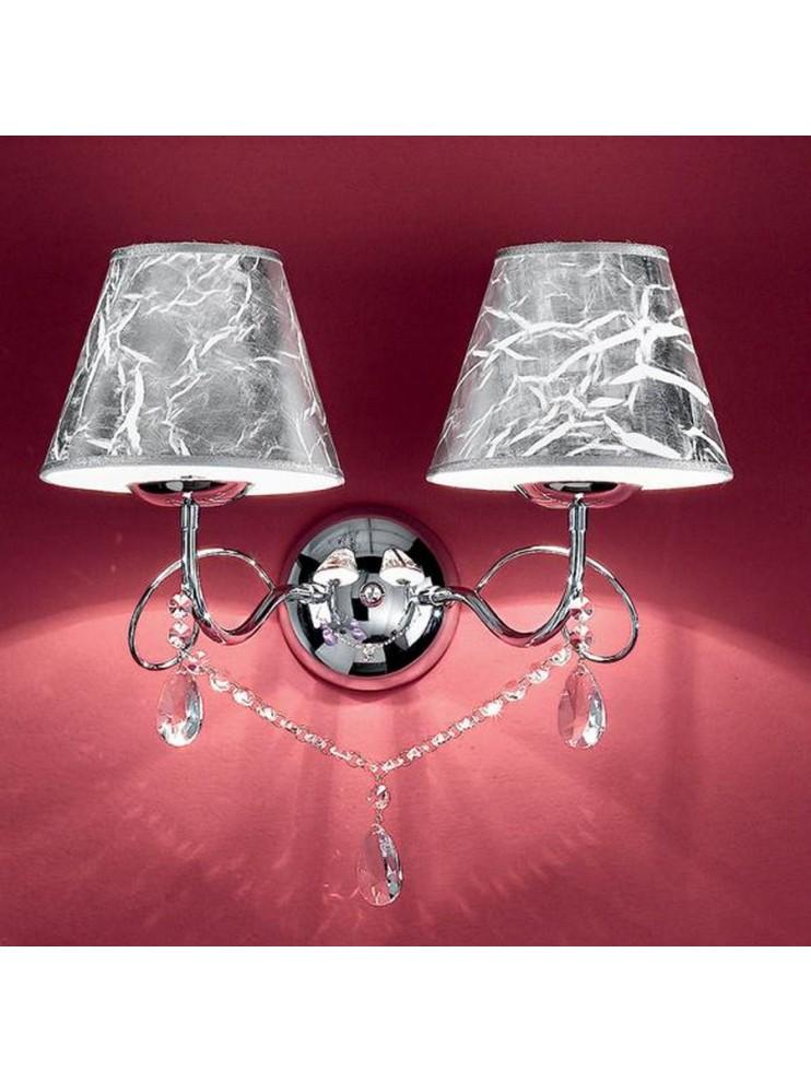 Applique classico con cristalli 2 luci Gioconda argento