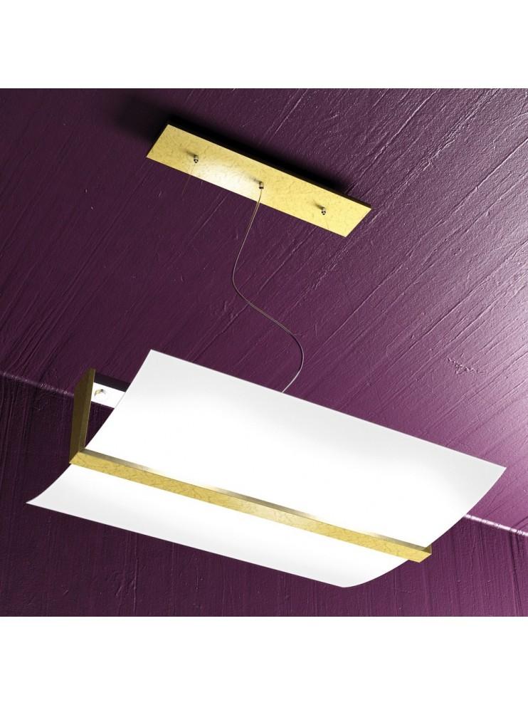 Lampadario 2 luci legno foglia oro tpl 1019-s50fo