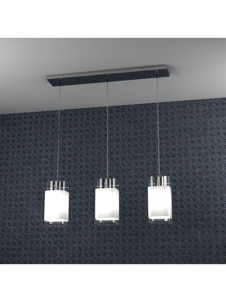 Modern chandelier with glass 3 lights tpl 1104-s3