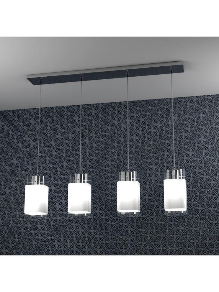 Lampadario moderno 4 luci con vetro tpl 1104-s4