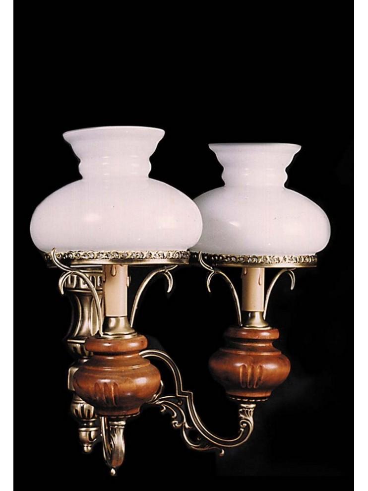 Applique classico in ottone e legno 2 luci BGA 823