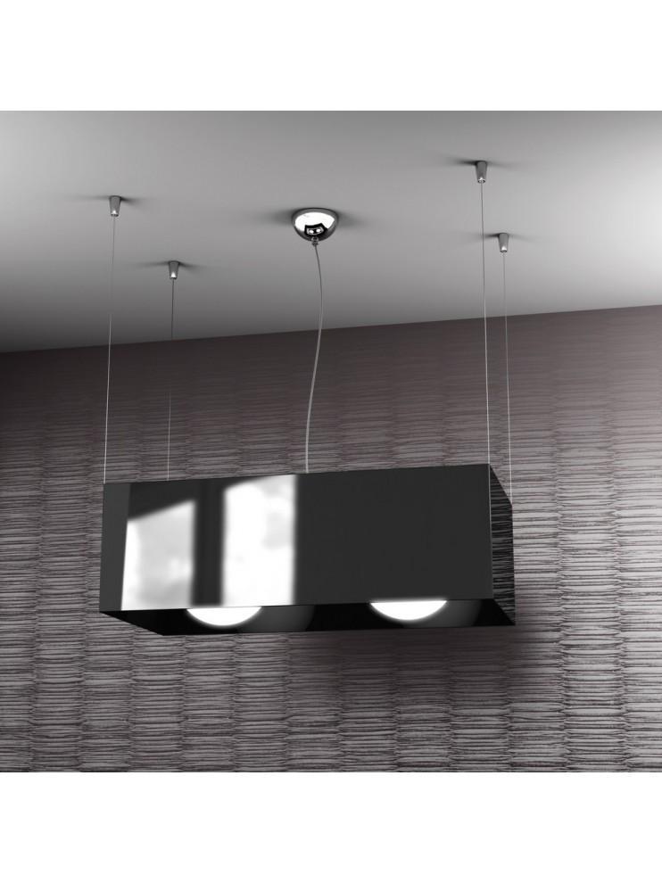 Lampadario moderno 2 luci nero tpl 1112-sne