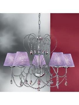 Lampadario moderno con cristalli 5 luci 2553-5 cromato