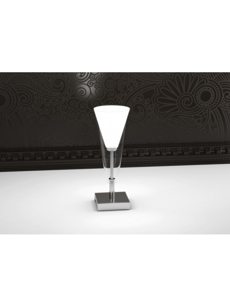 Lumetto moderno cromato 1 luce bianco tpl 1097-p