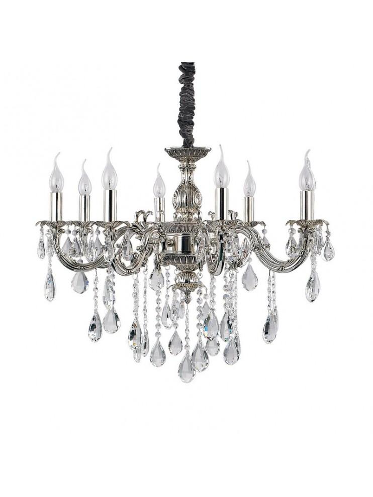 Lampadario classico con cristalli 8 luci in argento antico Impero