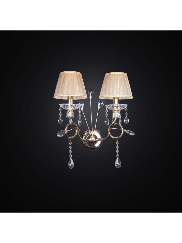 Applique contemporaneo 2 luci taglio a laser bianco e foglia oro BGA 2548/A2