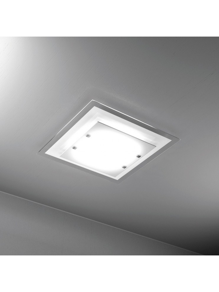 Plafoniera moderna 2 luci vetro bianco tpl 1087-pl45bi