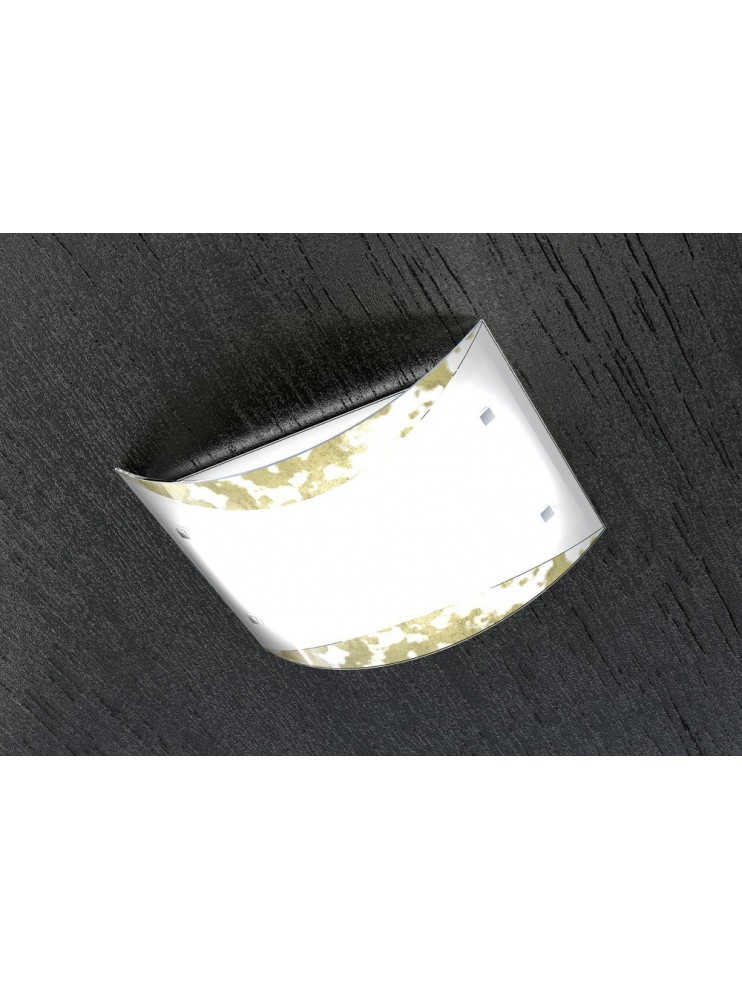 Plafoniera moderna vetro foglia oro tpl 1089-pl45fo