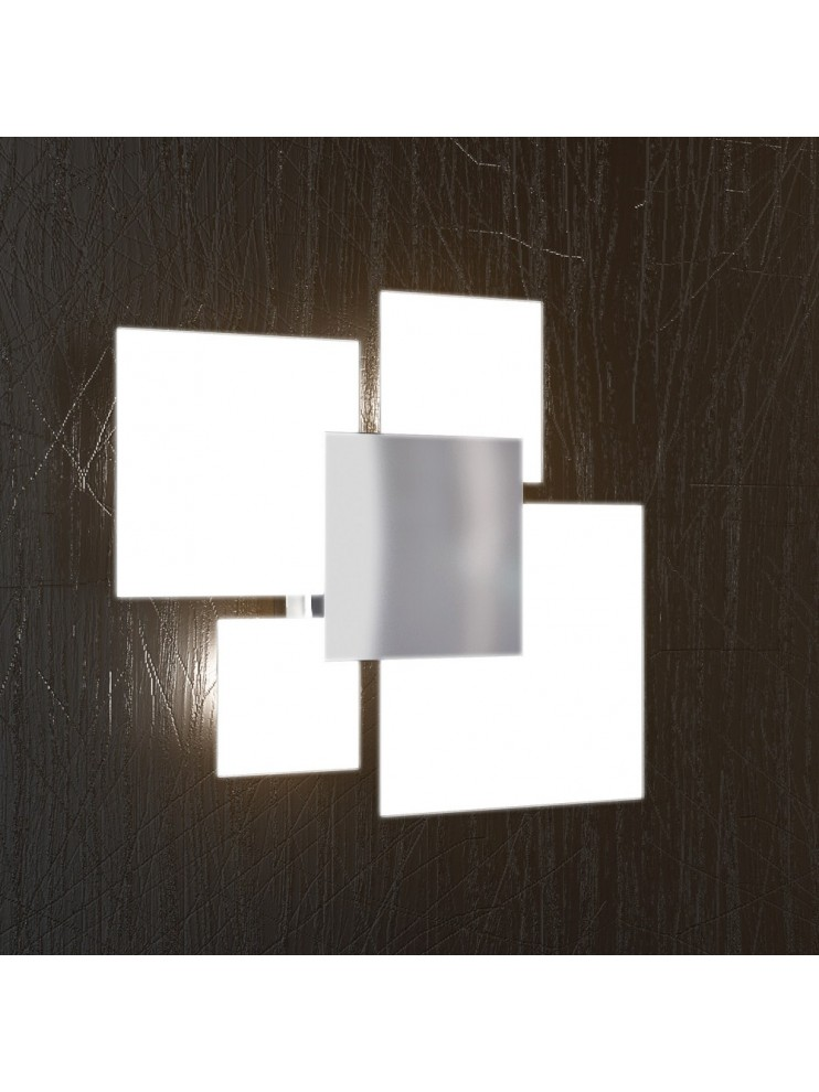 Plafoniera 4 luci moderna vetro bianco tpl 1088-pl45bi