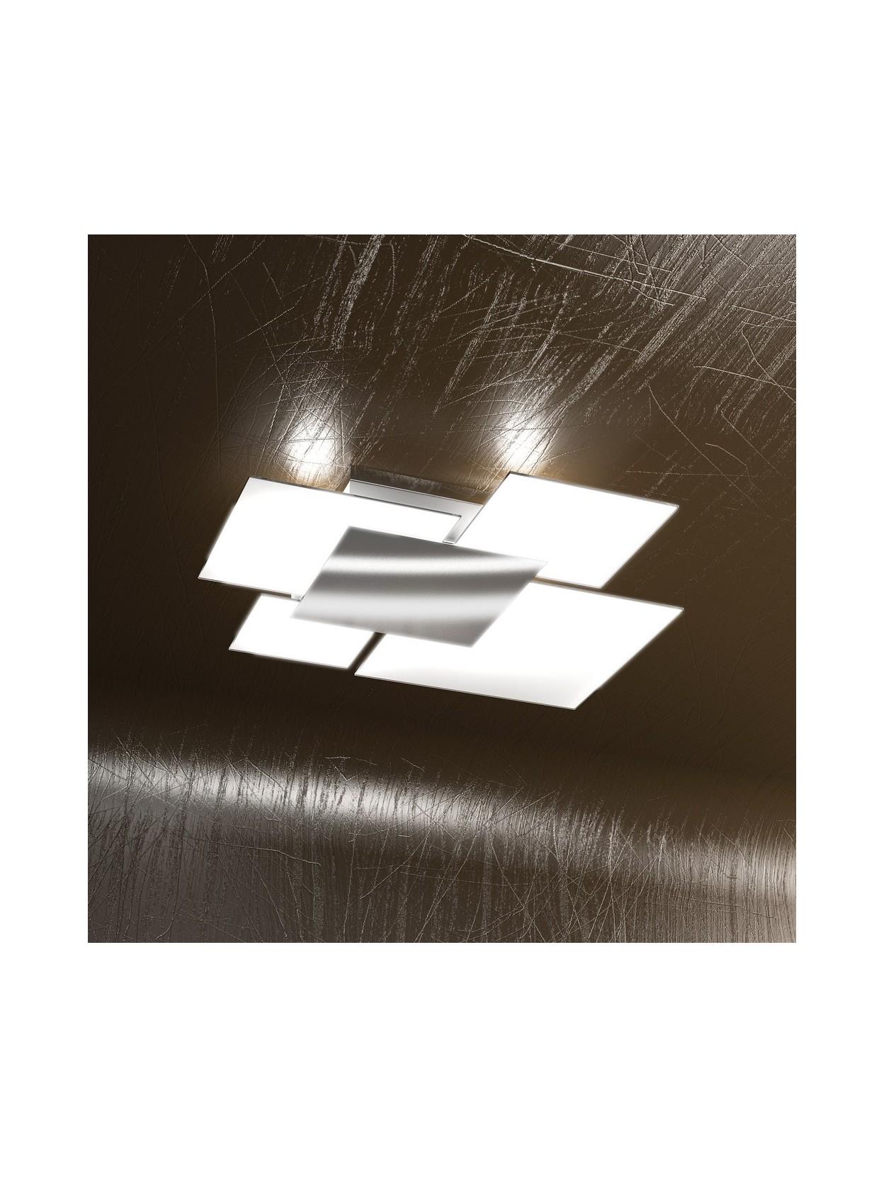 Plafoniera moderna 4 luci vetro tpl 1088 pl70bi for Plafoniera moderna