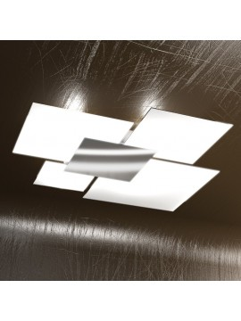 Plafoniera moderna 4 luci vetro bianco tpl 1088-pl90bi