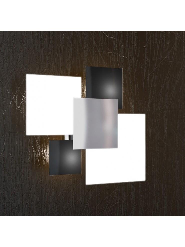 Plafoniera moderna 4 luci vetro nero tpl 1088-pl45ne