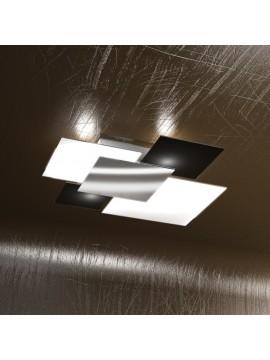 Plafoniera moderna 4 luci vetro nero tpl 1088-pl90ne